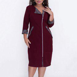 Plus Size Autumn Women Dress - Rouge Vineux 4XL