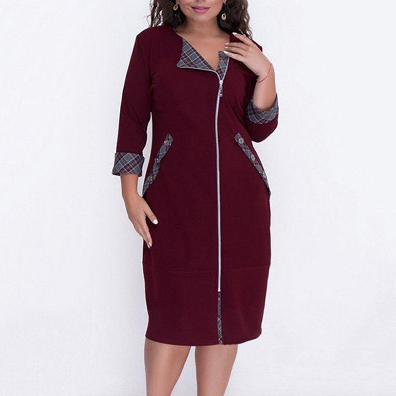 Plus Size Autumn Women Dress Rouge Vineux 4XL