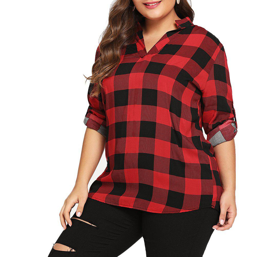 21dec1ae002 Fancy Women Big Size Long Sleeve Check Plaid Shirt Button Down Blouse Tops