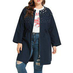 Women Plus Size bead embroidery Long Coat -