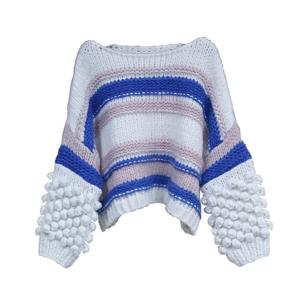 New UILY Autumn New Cuff Three-Dimensional Woolly Ball Sweater