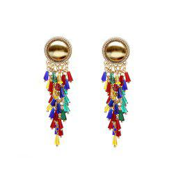 Exaggerated color mixed tassel earrings -
