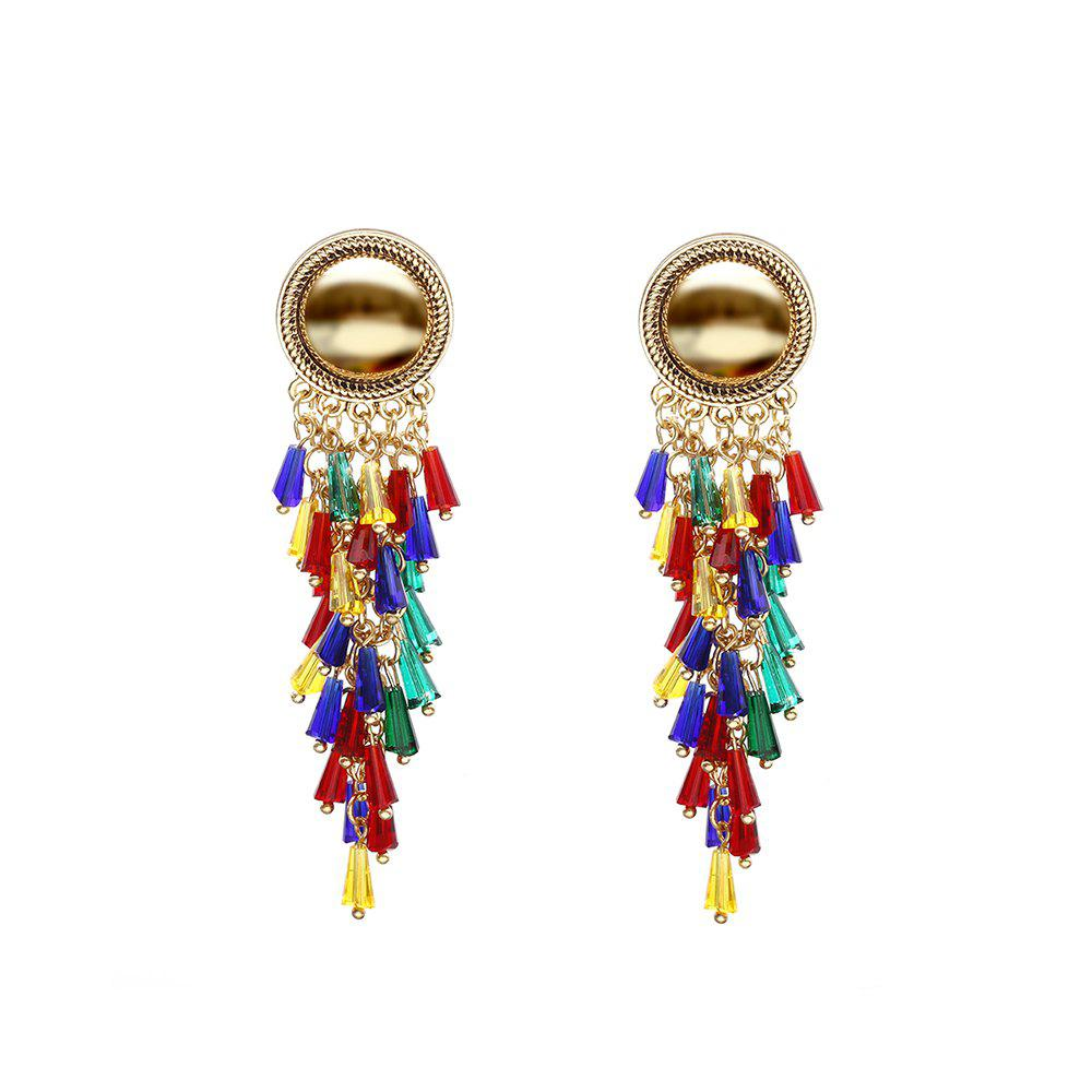 Outfit Exaggerated color mixed tassel earrings