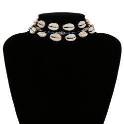Simple multi-layer ethnic style shell necklace -