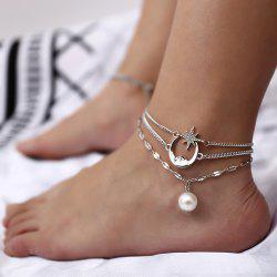 Pearl pendant multi-layer beach anklet -