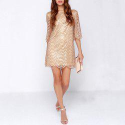 Sexy Sequins Back Leaking Sleeves Fashion Evening Dress -