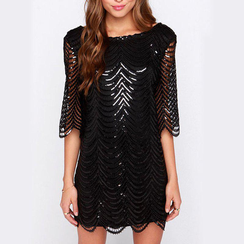 Buy Sexy Sequins Back Leaking Sleeves Fashion Evening Dress