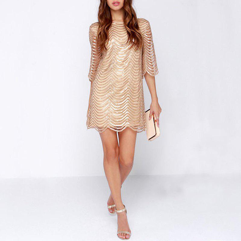 Outfits Sexy Sequins Back Leaking Sleeves Fashion Evening Dress