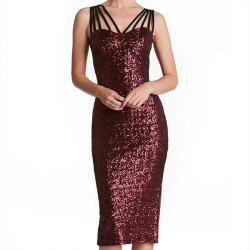 Sexy Beaded Rope Sling with Solid Color After Split Party Dress -