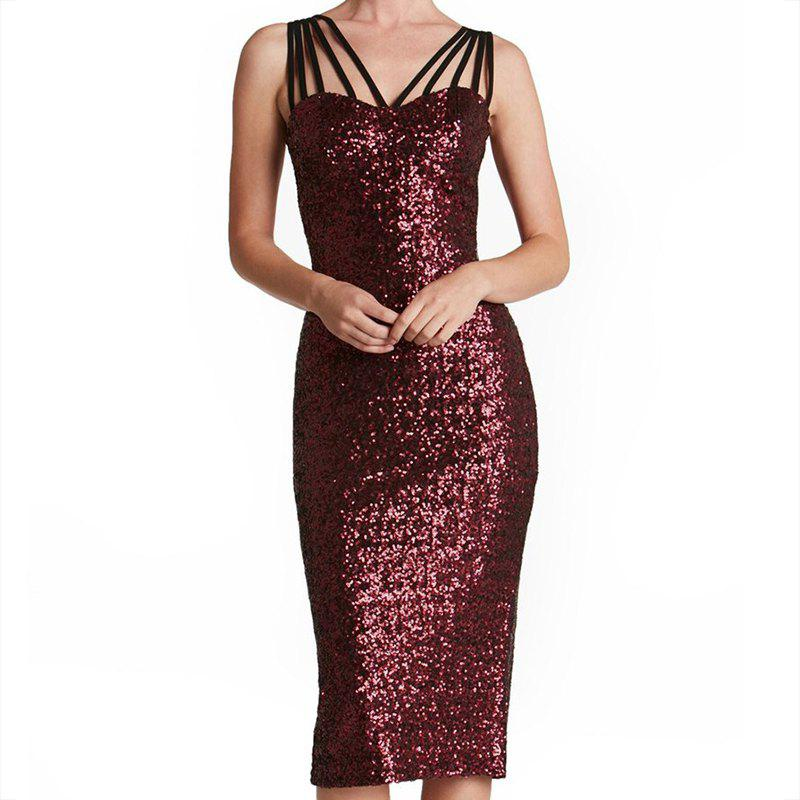 Shop Sexy Beaded Rope Sling with Solid Color After Split Party Dress