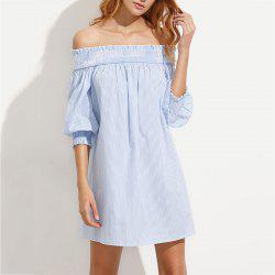 Sexy Fashion Word Collar in The Sleeves Behind The Banded Loose Dress -