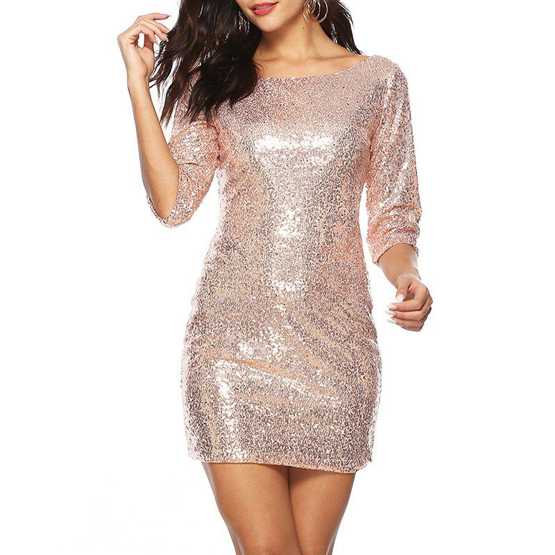 Hot Sexy Round Neck Cropped Sleeve Hip Mini Sequin Dress