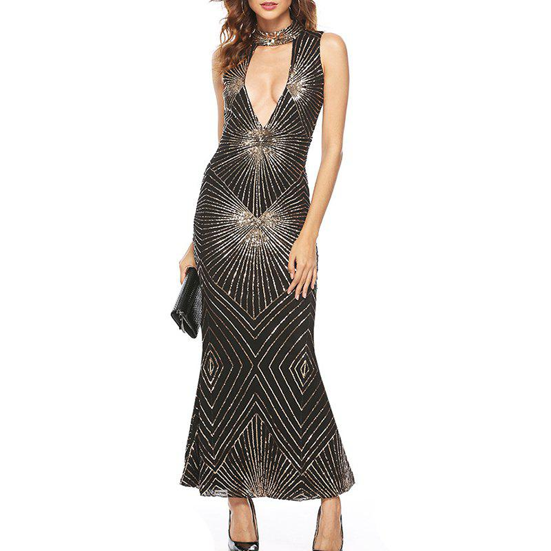 Discount Sexy Deep V-Neck Sleeveless Sexy Sequined Long Dress
