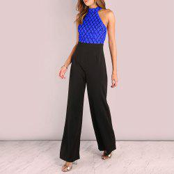 Sexy Sequined Stitching Sleeveless Slim Jumpsuit Long Flared Pants -
