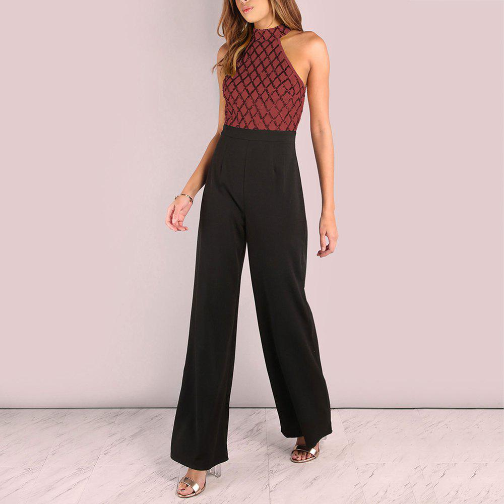 Fashion Sexy Sequined Stitching Sleeveless Slim Jumpsuit Long Flared Pants