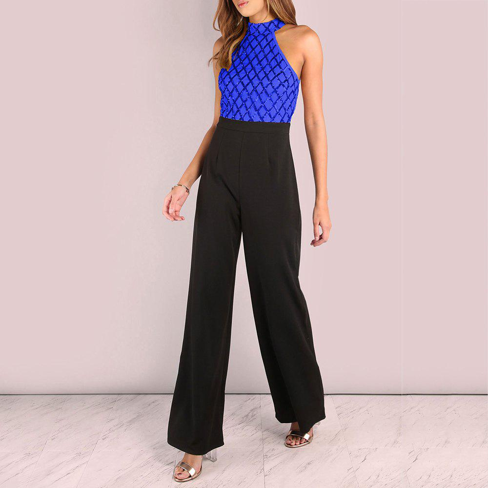 Sale Sexy Sequined Stitching Sleeveless Slim Jumpsuit Long Flared Pants