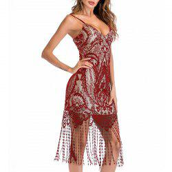 Fashion Sexy Deep V-Neck Tube Top Strap Tassel Lace Dress -