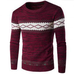 Men's Basic Long Sleeve Slim Pullover Solid Colored Block Patchwork Round Neck -