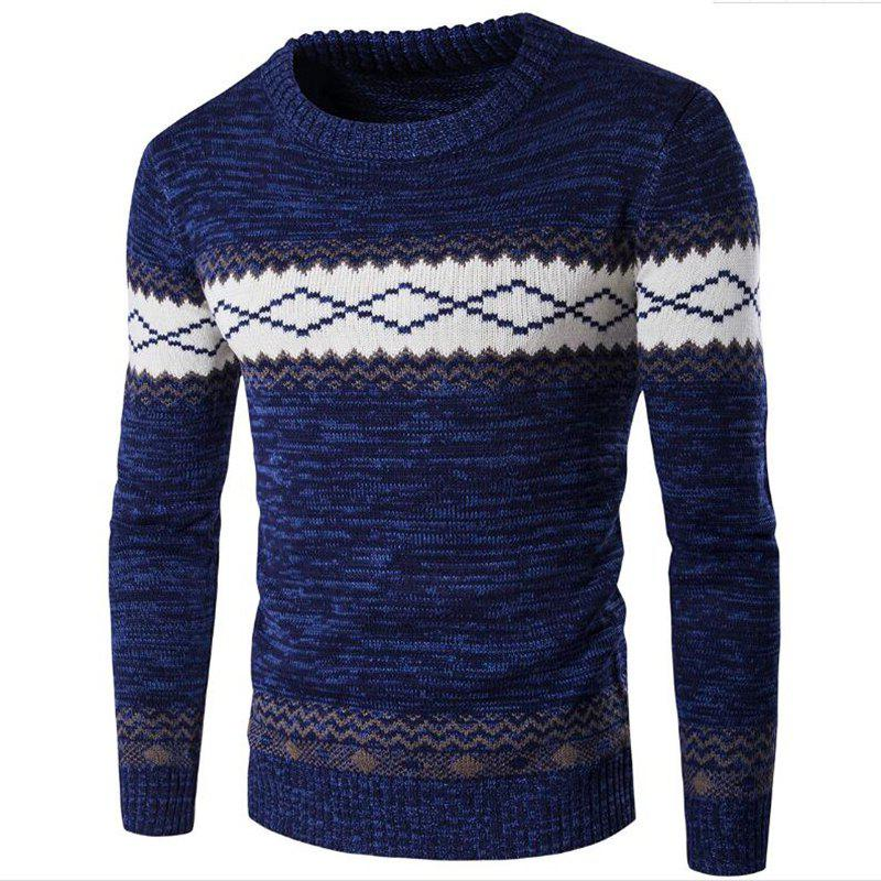 Fancy Men's Basic Long Sleeve Slim Pullover Solid Colored Block Patchwork Round Neck