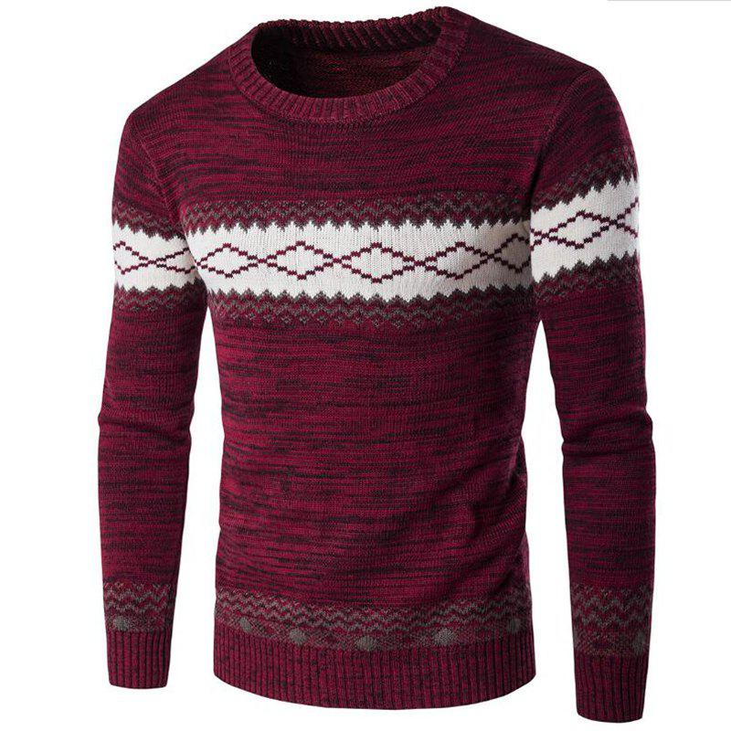 New Men's Basic Long Sleeve Slim Pullover Solid Colored Block Patchwork Round Neck