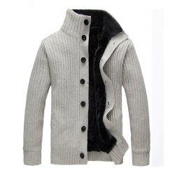 New Man Winter Full Sleeve Stand Collar Thick Fashion Solid Sweatercoat Casual -