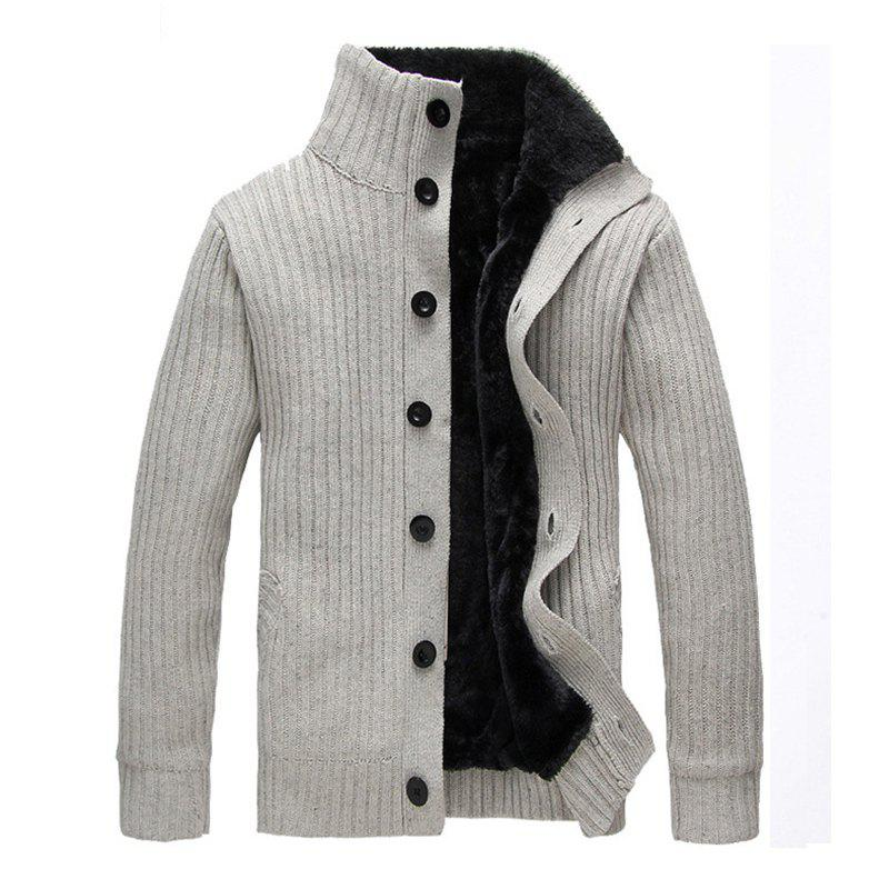 Trendy New Man Winter Full Sleeve Stand Collar Thick Fashion Solid Sweatercoat Casual