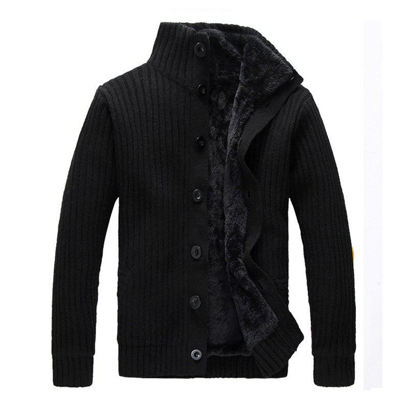 Latest New Man Winter Full Sleeve Stand Collar Thick Fashion Solid Sweatercoat Casual