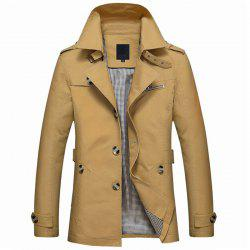 New Man Washed Cotton Upper Fabric Fashion Solid Trench Coat -