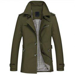New Man Cotton Washed Upper Cotton Trench Coat - Vert Armée  XL