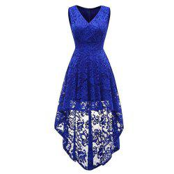 Women's Wear V Collar Sleeveless Cocktail Lace Dress -