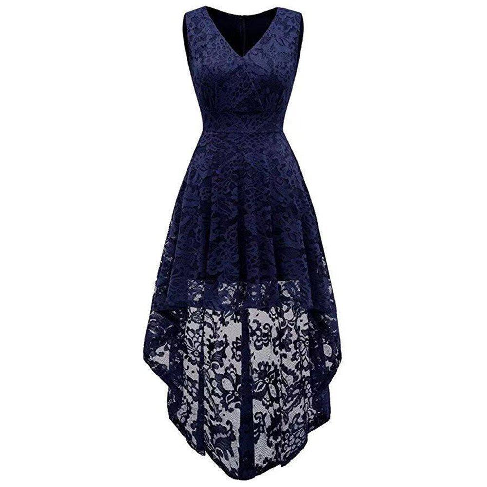Best Women's Wear V Collar Sleeveless Cocktail Lace Dress