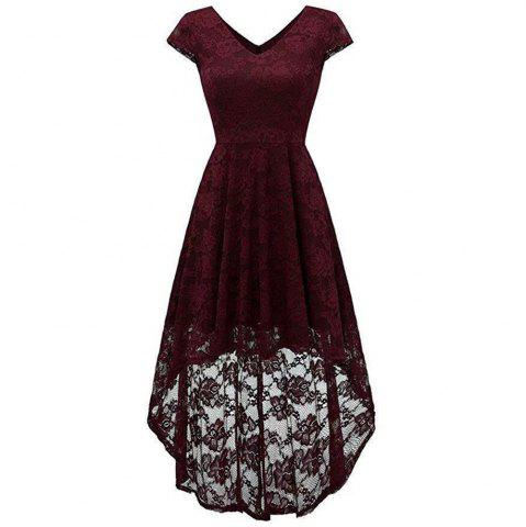 Women's Wear V Collar Cocktail Lace Dress