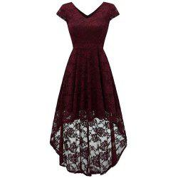 Women's Wear V Collar Cocktail Lace Dress -