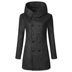 Double Breasted Trench Hooded Coat -