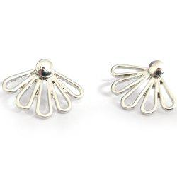 Fashionable Ladies Hollow Glossy 5 Petals Lotus Earrings -