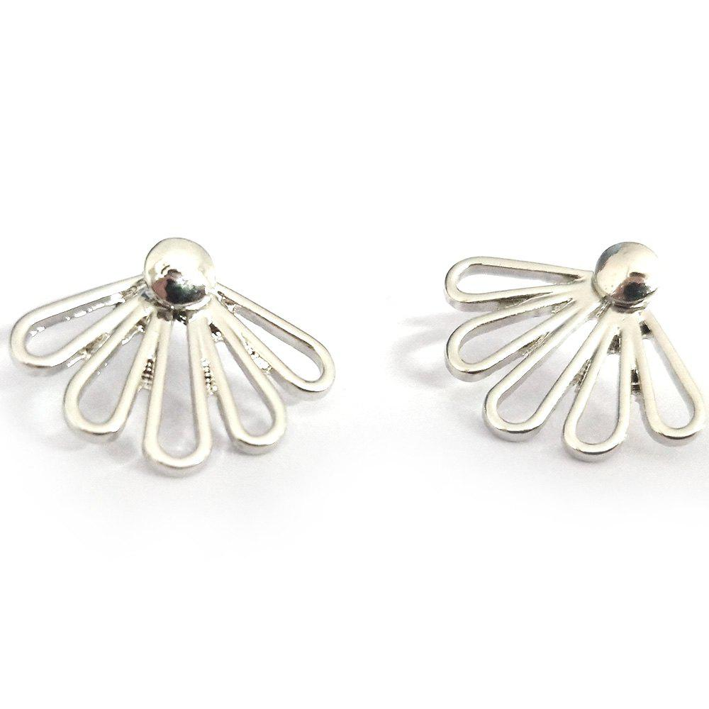 Sale Fashionable Ladies Hollow Glossy 5 Petals Lotus Earrings