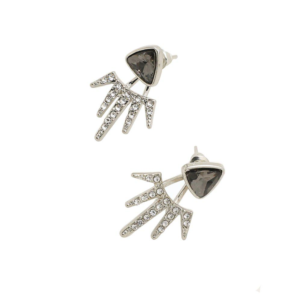 Trendy Wind Holder Double Black Triangle Full Drill Angle Earrings