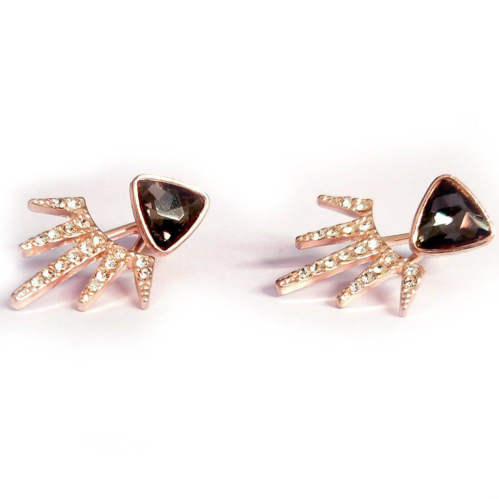 Fashion Wind Holder Double Black Triangle Full Drill Angle Earrings