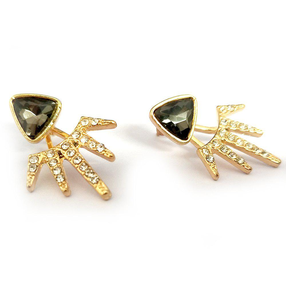 Latest Wind Holder Double Black Triangle Full Drill Angle Earrings