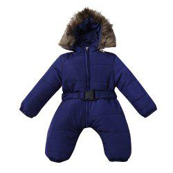 Baby Winter Clothes Girl Boy Romper Warm Jumpsuit Overalls Hooded Outerwear -