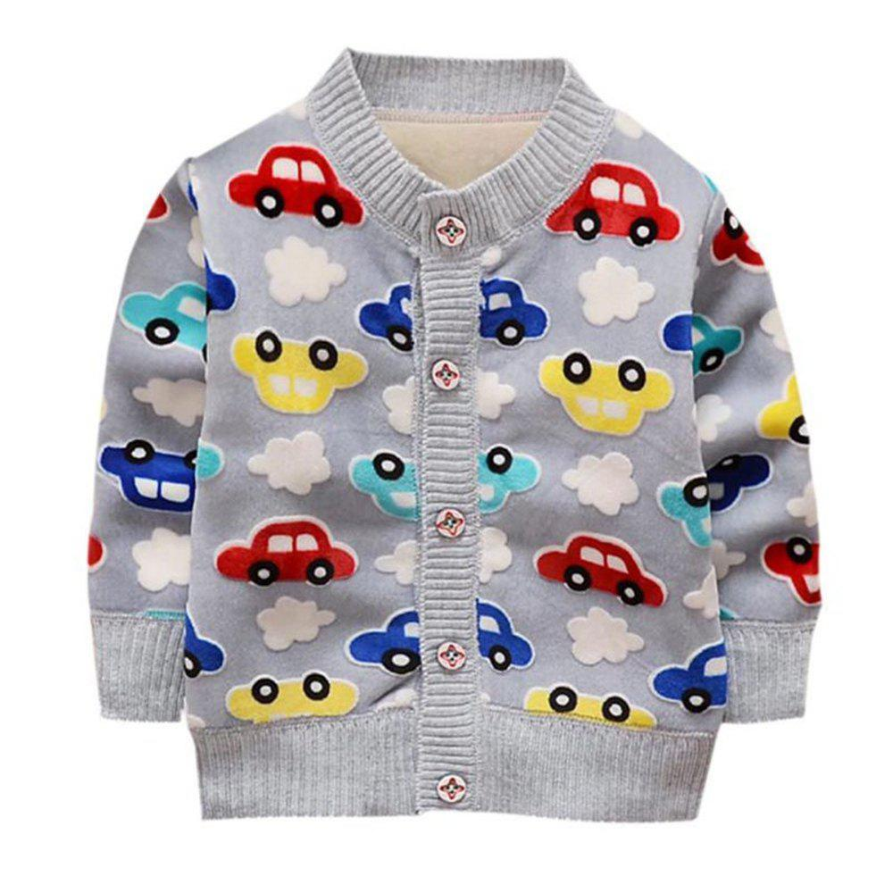 Shop Baby Boy Girl Coats Warm Clothes Cartoon Car Pattern Button Knitting Clothing