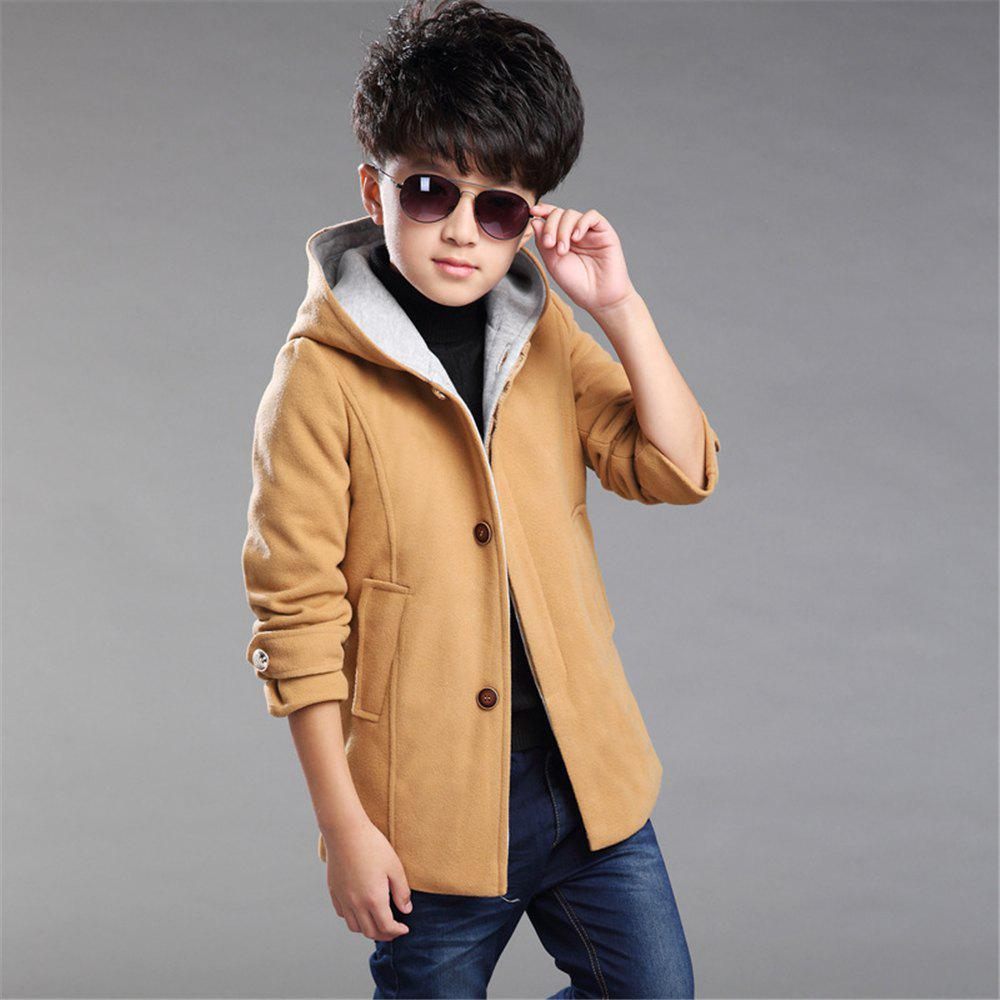 Shop Boys Winter Clothing Wool Solid Color Coat Kids Thick Plus Jacket
