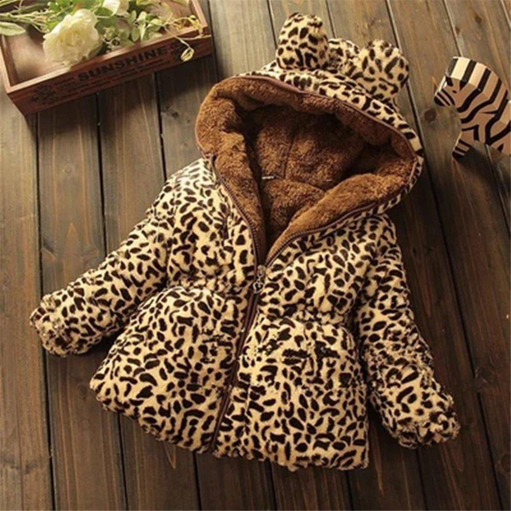 Store Leopard Faux Fox Fur Collar Coat Jacket Baby Girl Outerwear Hoodies Infant Cloth