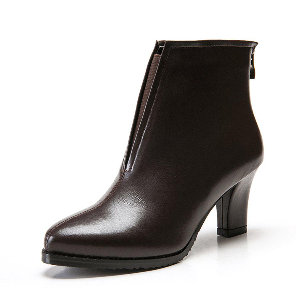 Chic Short Boots Single Shoes Pointed Short Tube Thick with Women'S Boots