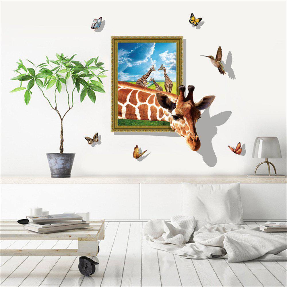 Delightful 3D Effect Giraffe Butterfly Wall Stickers For Kids Room Cartoon Wall Decals    24 X 36 Inch