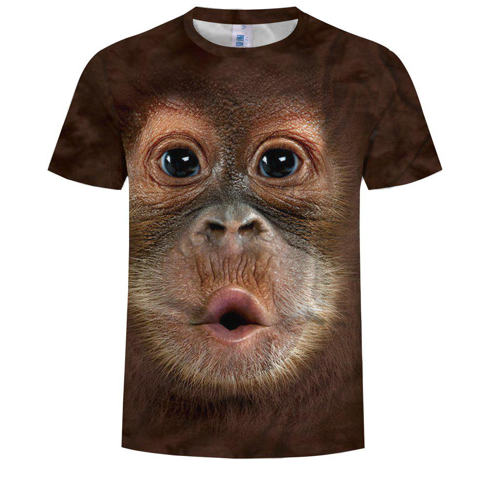 8f4ab54dd Outfits Fashion Monkey Head 3D Print Short Sleeve Large Size T-Shirt