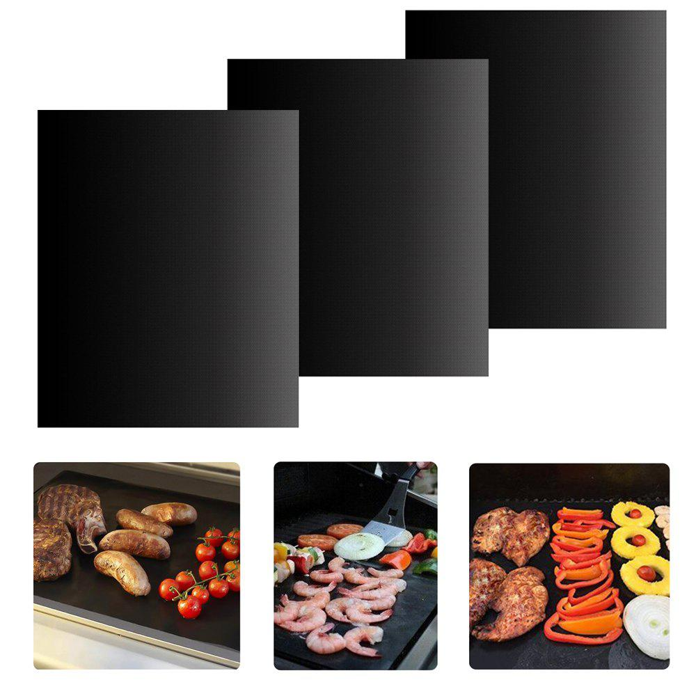 Set of 3 Non-Stick Reusable Barbecue Grill Mat for Home Outdoor Beach (Black)
