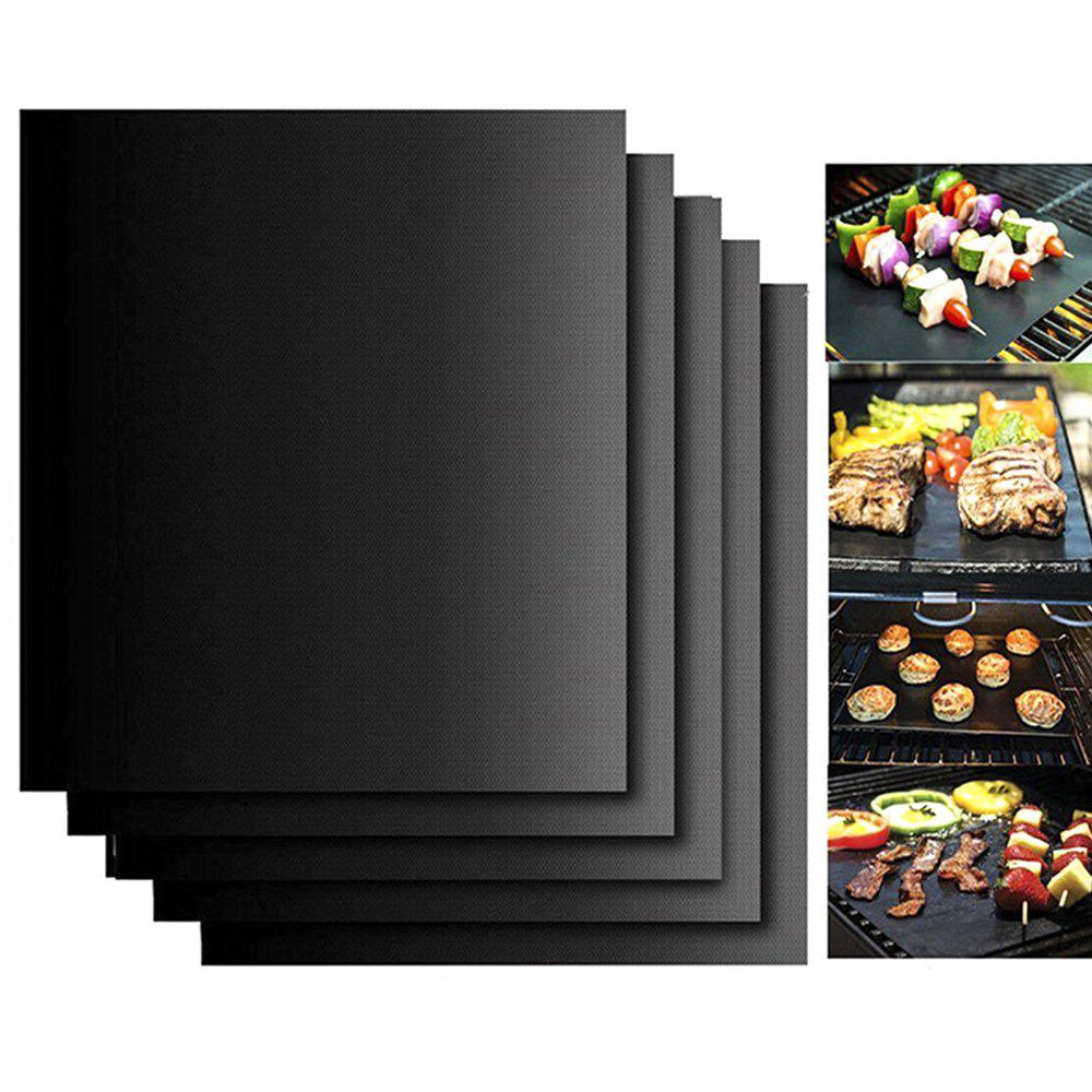 Set of 5 Non-Stick Reusable Barbecue Grill Mat for Home Outdoor Beach (Black)