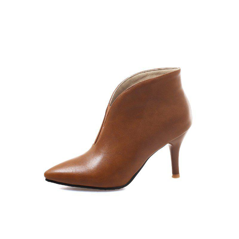 New Spring Fine High Pointed PU Ankle Boots