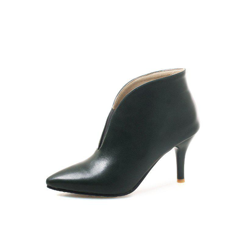 Chic Spring Fine High Pointed PU Ankle Boots